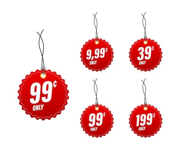 Venta, etiqueta de precio. insignia de banner de venta. signo de precio de oferta especial. ilustración de stock.