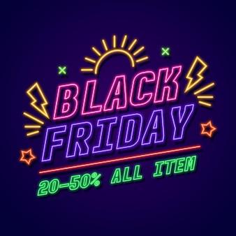 Venta de eventos de viernes negro en estilo neón