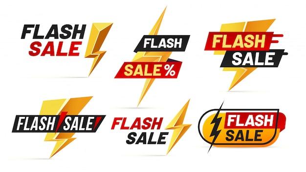 Venta express. las insignias de mega ventas de relámpagos, el póster de relámpagos de la mejor oferta y comprar solo hoy ofrecen un conjunto de ilustración de insignia