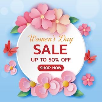 Venta feliz del día de la mujer con ilustración de flores de arte de papel