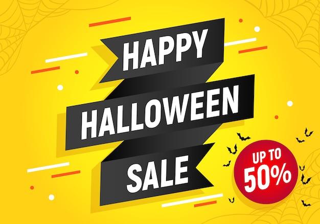 Venta de feliz halloween, banner de cinta negra