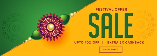 Venta del festival rakhsha bandhan con pancarta decorativa rakhi