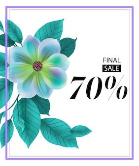 Venta final setenta por ciento volante con flor azul y marco.