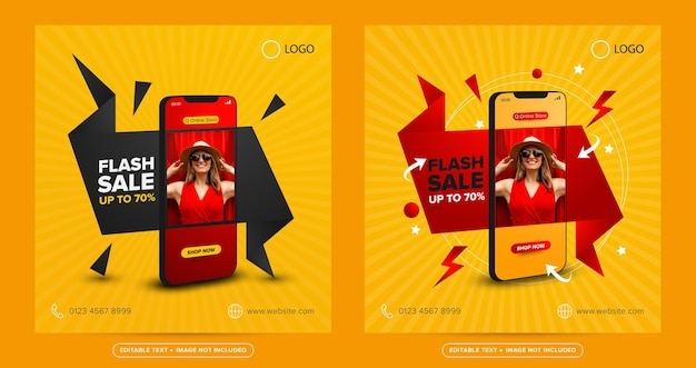 Venta flash compras en línea concepto de publicación en redes sociales