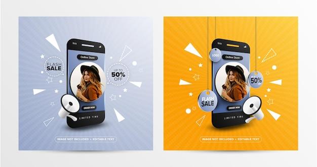 Venta flash compras en línea en plantilla de banner de publicación de redes sociales