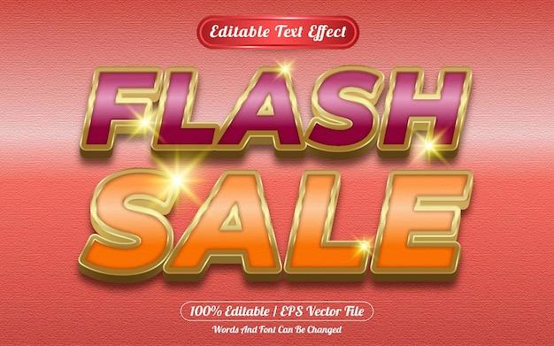 Venta flash efecto de texto editable tema dorado