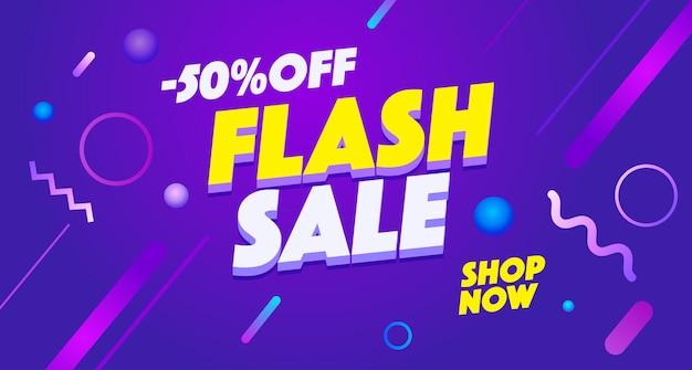 Venta flash, plantilla de banner de oferta limitada. compras, vender ilustración de gradiente de promoción.