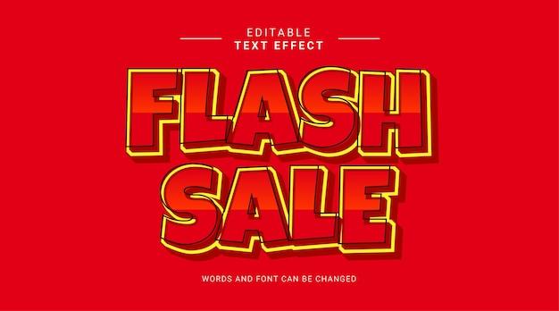Venta flash rojo amarillo 3d plantilla de efecto de texto editable