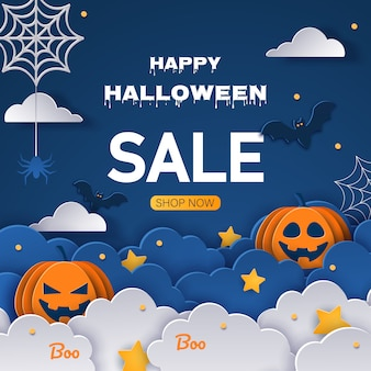 Venta fondo de halloween. plantilla de diseño de oferta de halloween. ilustración de estilo de dibujos animados