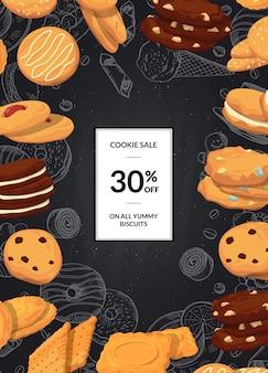 Venta con galletas de dibujos animados en pizarra negra