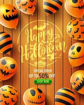 Venta de halloween 50% de descuento en pancarta con globos de miedo