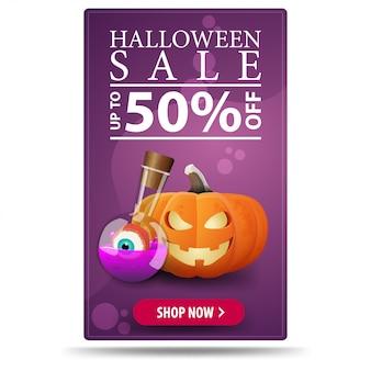 Venta de halloween, hasta 50% de descuento, pancarta moderna vertical púrpura con su arte con calabaza jack y poción de bruja