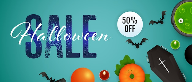 Venta de halloween, cincuenta por ciento de descuento en letras, caldero, poción