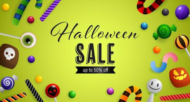 Venta de halloween, hasta un cincuenta por ciento de descuento en letras con dulces