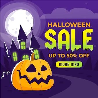 Venta de halloween dibujada a mano con calabaza y casa