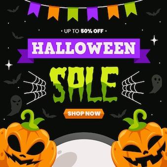 Venta de halloween de diseño plano con oferta.