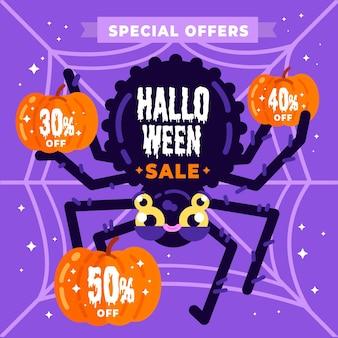 Venta de halloween de diseño plano