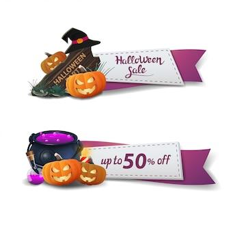 Venta de halloween, dos pancartas de descuento en forma de cintas
