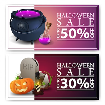 Venta de halloween, dos pancartas de descuento con olla de bruja con poción, lápida y calabaza jack