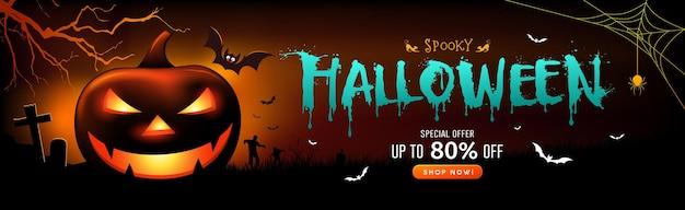 Venta de halloween fantasma espeluznante calabaza sonrisa y murciélago con diseño de banner de árbol en el fondo de la noche