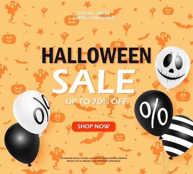 Venta de halloween oferta moderna de otoño. calabaza, murciélago, sombrero de bruja, cráneo, gato elementos dibujados a mano.