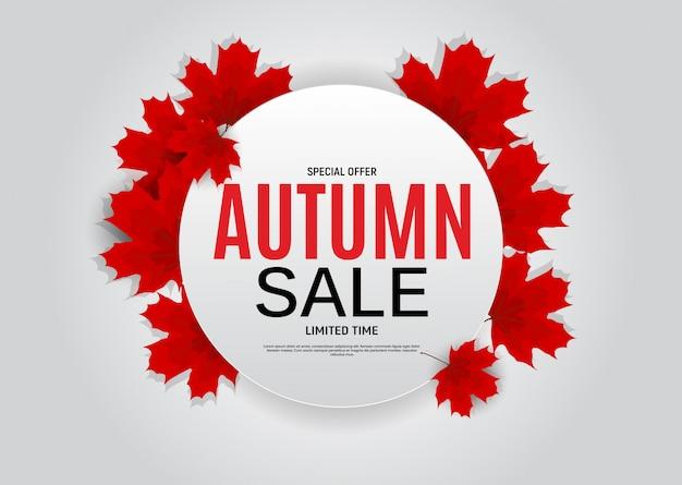 Venta de hojas de otoño brillante. tarjeta de descuento comercial. ilustración