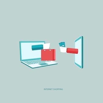 Venta por internet, en la línea compras