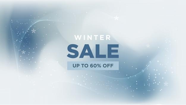 Venta de invierno con banner abstracto