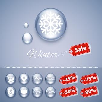 Venta de invierno botones brillantes plantillas