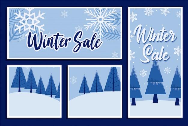 Venta de invierno con copos de nieve y pinos diseño vectorial