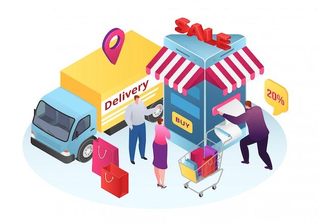Venta isométrica en servicio de tienda, ilustración de entrega móvil empresarial. tecnología de pago del cliente en línea del teléfono en internet. compra comercial, orden y concepto de marketing minorista.