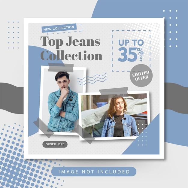 Venta de jeans de moda elegante publicación de instagram en redes sociales