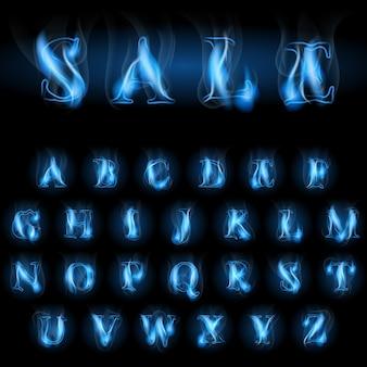 Venta letras del alfabeto latino de fuego azul