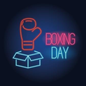 Venta de luces de neón del día del boxeo con diseño de ilustración de vector de caja y guante