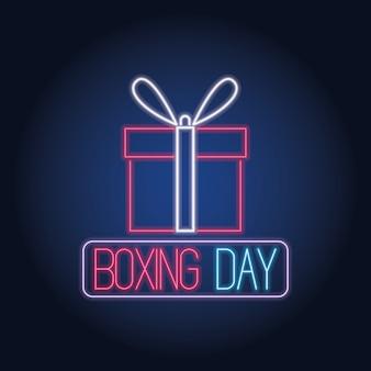 Venta de luces de neón del día del boxeo con diseño de ilustración vectorial de regalo