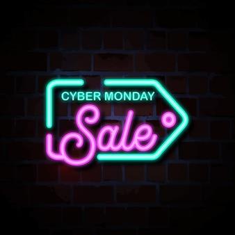 Venta de lunes cibernético con ilustración de signo de estilo de neón de icono de etiqueta de precio