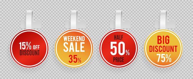 Venta de maquetas de wobblers. oferta especial, plantilla de banners de vector de descuento sobre fondo transparente