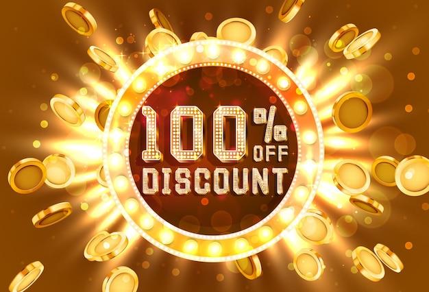 Venta de marco dorado 100 de banner de texto. oro de explosión de dinero. ilustración vectorial