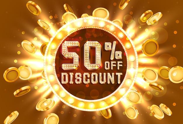 Venta de marco dorado 50 de banner de texto. oro de explosión de dinero. ilustración vectorial