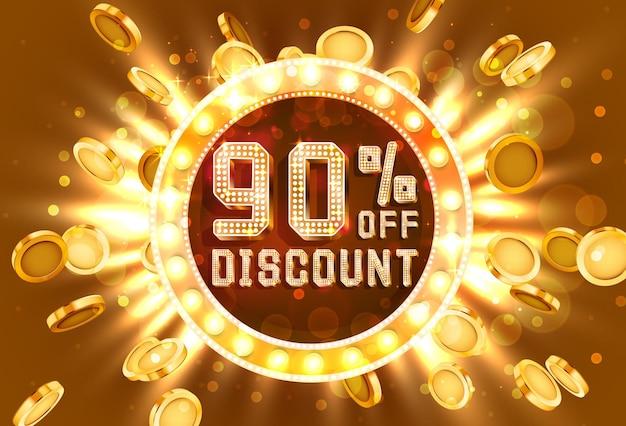Venta de marco dorado 90 de banner de texto. oro de explosión de dinero. ilustración vectorial