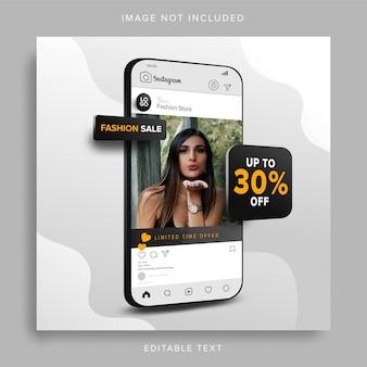 Venta de moda en la aplicación de publicación de redes sociales