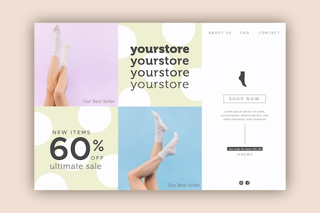 Venta de moda - concepto de página de destino