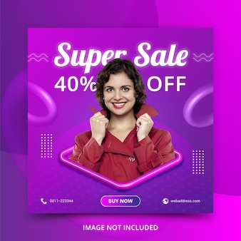 Venta de moda plantilla de publicación de banner de redes sociales estilo 3d