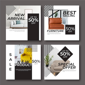 Venta de muebles conjunto de publicaciones de instagram