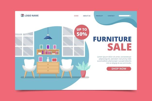 Venta de muebles planos con landing page de descuento.