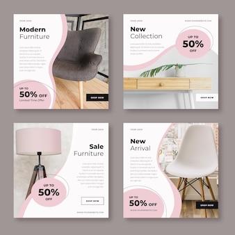 Venta de muebles publicación de instagram vector gratuito