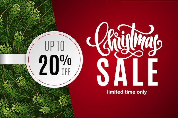 Venta de navidad 20% de descuento con etiqueta de papel con ramas de abeto