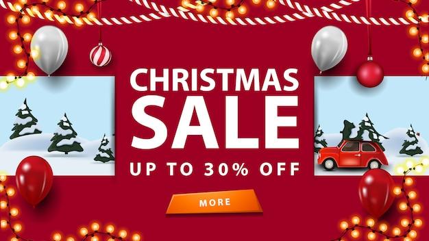 Venta de navidad, hasta 30% de descuento, pancarta de descuento rosa con guirnaldas, botón y paisaje de invierno de dibujos animados