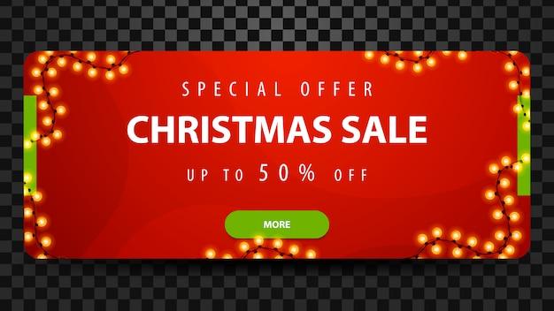 Venta de navidad, hasta 50% de descuento, banner web moderno horizontal rojo brillante con botón y guirnalda