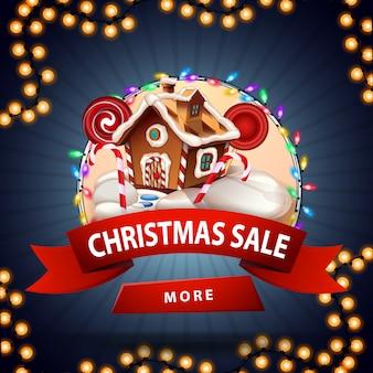 Venta de navidad, banner de descuento redondo con casa de pan de jengibre de navidad